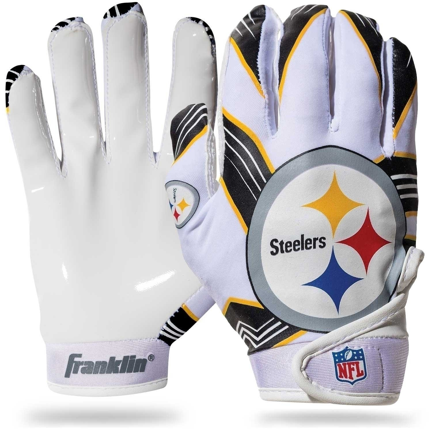 Great for Games /& Costumes Franklin Sports Youth NCAA Football Receiver Gloves NCAA Team Logos and Silicone Palm Youth Pair Receiver Gloves for Kids