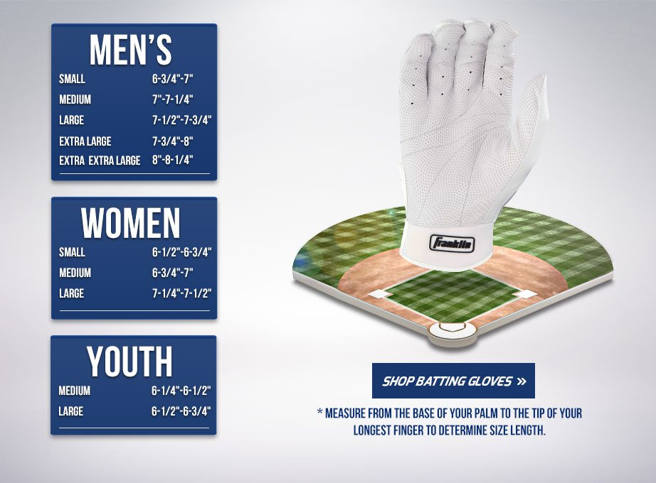 Batting Glove Hand Size Chart Franklin Sports